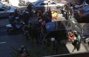 Video: Range Rover runs over bikers in New York City